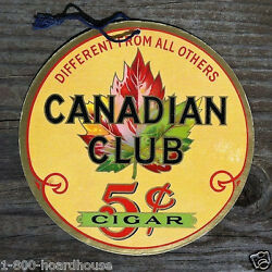 Original Canadian Club 5¢ Cigar Double Sided Hanging Cardboard Sign 1930s Nos