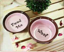 Cute Luxury Pet Food Bowl Feeder Dish For Dogsandcats Pinkandbrown Feed Me And Woof