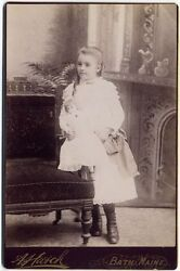 Girl With Baby Doll By Hatch Bath, Maine, Cabinet Photo