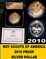 Boy Scouts Silver Proof Dollar W/sleeves And Certificate Of Authenticity