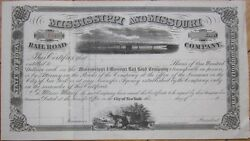 1860s Railroad Stock Certificate And039mississippi And Missouri Rail Road Companyand039 Ms