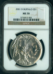 2001 D Buffalo Commemorative Silver Dollar Coin 1 Ngc Ms 70 Ms70 Perfect