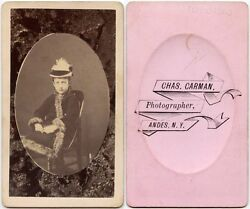 Civil War Era Young Girl In Oval With Great Hat + Coat By Carman, Andes, Ny, Cdv