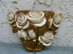 plastic wall pocket w white gold rose