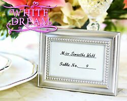 Silver Beaded - Photo Frames Wedding Favour | Place Card Holder