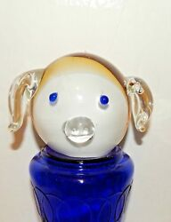 Hand Blown Glass Paperweight Dog/ Pigattached Eyes Nose And Earsmurano Italy