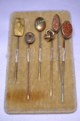 Lot Of 6 Antique Stickpins And Velvet Display 1 Nude, 1 Seed Pearl, 2 Goldstone