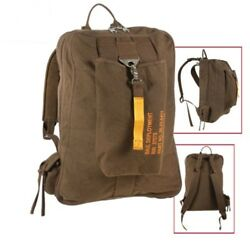 Earth Brown Vintage Military Canvas Lightweight Flight Bag Backpack Rothco 9763