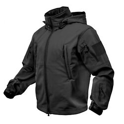 Black Special Ops Military Tactical Soft Shell Jacket Rothco 9767