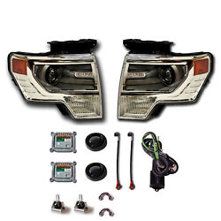NEW OEM 2009-2013 Ford F-150 CHROME HID Headlights - PAIR - Retrofit Kit