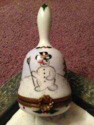 Beautifully Detailed Christmas Bell Original French Limoges Trinket Box