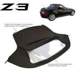 Bmw Z3 1996-2002 Convertible Soft Top Replacement And Plastic Window Black Twill