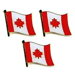 Lot Of 3 Canadian Flag Lapel Pin 0.5 Canada Maple Leaf Pinback Hat Tie Badge