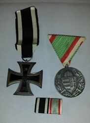 Wwi German Iron Cross And1914-1918 Combat Service Medal Andribbon Bar