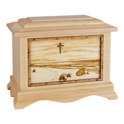 Wood Cremation Urn (Wooden Urns) - Maple Footprints in the Sand Ambassador