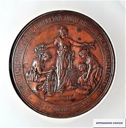 1876-1776 J-cm-11. Ae 57mm Centennial Independence Commemorative Medal Au Ngc