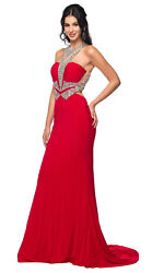 NEW SEXY PROM SPECIAL OCCASION DRESS SEMI FORMAL DESIGNER EVENING STRETCHY GOWN