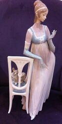 Lladro Lady Empire Porcelain Figurine With Tall Chair And Dog.