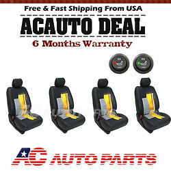4 Car Seats Carbon Fiber  Heater Kit Seat Universal Cushion - Round Switch
