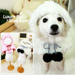 Luxury Pet Apparel- Fluffy Cape Winter Clothes Pinkandsnow White Small-xlarge Dog