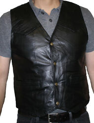 Menand039s Motorcycle Black Italian Stone Design Genuine Leather Vest Handcrafted