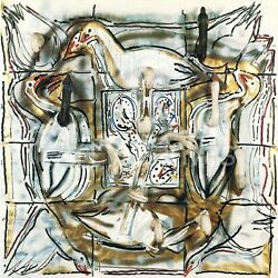 40wx40h Souflandeacute Dand039oies By Jean-paul Riopelle Abstract Ducks Birds Water Canvas