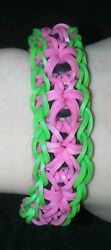 Rainbow Loom Starburst Bracelet With Extension Watermelon Themed FREE SHIPPING $3.99