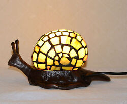 4.25h 8.5w Stained Glass Handcrafted Snail Night Light Table Lamp Metal Base