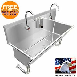 Wash Up Hand Sink 2 Users Multistation 48 Elct Faucet 12 Tub Deep Made In Usa