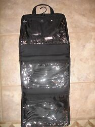 MAKE UP FOR EVER UNFOLDING POUCH TRAVEL BAG 3 COMPARTMENTS BLACK CLEAR ORGANIZER