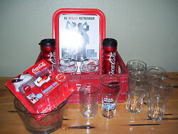 Lot Of 14 Piece Coca Cola Glassesbowltrayswind Up Polar Bear Collection