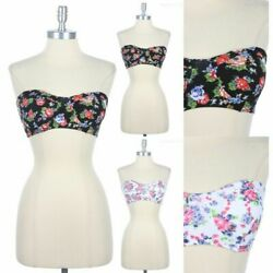 All Over Floral Print Strapless Padded Back Lace Bandeau Cute Sexy Cotton S M L $7.99