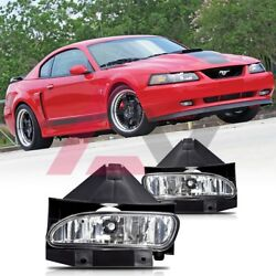 99-04 For Ford Mustang Clear Lens Pair Bumper Fog Light Lamp Replacement