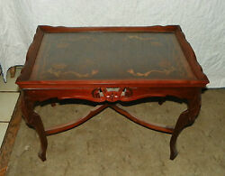 Mahogany Carved Inlaid Coffee Table With Glass Serving Tray Ct23