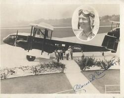 Signed Photograph Of Clarence D. Chamberlin Piloting An Amoco Plane -original