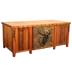 Rustic Western Executive Desk w 4 Tile Insert & Inlaid TopNails Country Decor