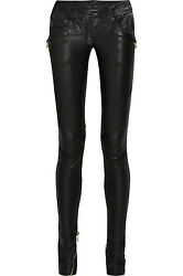 Stunning New Sold Out 5020 Balmain Gray Leather Pants
