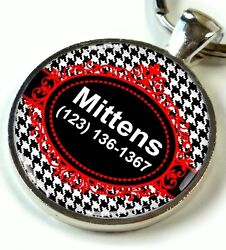 Houndstooth Dog Tags For Dogs Personalized For Dogs And Cat Black And Red New Id