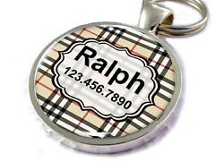 Plaid Dog Tags For Dogs Personalized For Dogs And Cats Checker Tan And Black