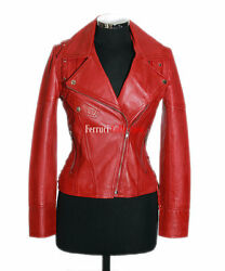 Ivy Ladies Leather Jacket Red Wax Laced Biker Style Fitted Napa Leather Jacket