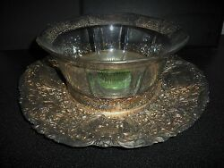 Antique Barbour Silver Co. Repousse Dutch Scroll Tray And Silver Layer Glass Bowl