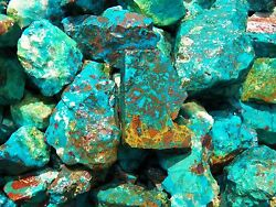 1000 Carat Lots Of Chrysocolla And Turquoise Rough - Plus A Free Faceted Gemstone