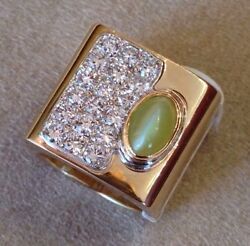 Wide Catand039s Eye Chrysoberyl And Diamond Ring In 14k Yellow Gold - Hm1404ae