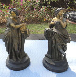 Continental Statuespr Large 19th Century Painted Neo Classicaloriginal Patina