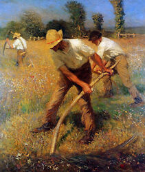 The Mowers By George Clausen  Giclee Canvas Print Repro