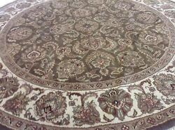 8' X 8' Round Brown Floral Agra Oriental Area Rug Hand Knotted Wool Capet Foyer