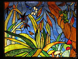 Rainforest And Red Eyed Green Tree Frog Custom Hand Crafted Stained Glass Window