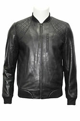 70and039s Retro Bomber Menand039s Black Quilted Classic Soft Italian Nappa Leather Jacket