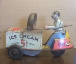 courtland ice cream cart driver tin toy
