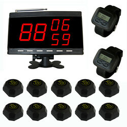 Singcall Wireless Table Waiter Calling Paging System 10 Bells 2 Watches 1 Screen